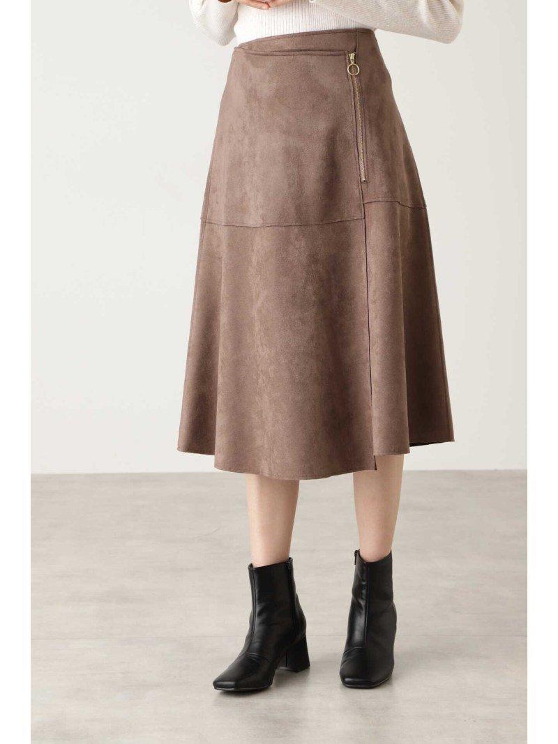 高見えなフェイクスウェードを使用したニュアンスカラーのフレアスカート レディースファッション・服の通販 founy(ファニー) 【エヌ ナチュラルビューティーベーシック/N.Natural Beauty basic】 トレンドファッション・スタイル  Fashion trends ブランド Brand ファッション Fashion レディースファッション WOMEN スカート Skirt Aライン/フレアスカート Flared A-Line Skirts アシンメトリー シンプル フェイクスウェード フレア  ID:prp329100000914412