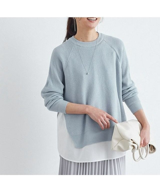 一枚でレイヤードスタイルが楽しめるドッキングシャツクルーネックニット レディースファッション・服の通販 founy(ファニー) 【ピエロ/Pierrot】 トレンドファッション・スタイル  Fashion trends ブランド Brand ファッション Fashion レディースファッション WOMEN トップス カットソー Tops Tshirt ニット Knit Tops シャツ/ブラウス Shirts Blouses 送料無料 Free Shipping 2021年 2021 2021 春夏 S/S SS Spring/Summer 2021 ドッキング プチプライス・低価格 Affordable 春 Spring 畦 |ID:prp329100001188499