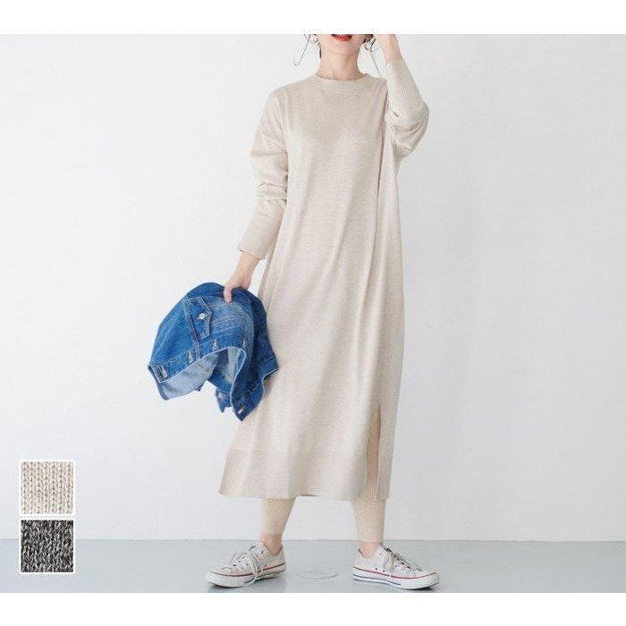 クルーネック長袖ニットワンピース レディースファッション・服の通販 founy(ファニー) 【コカ/COCA】 トレンドファッション・スタイル  Fashion trends ブランド Brand ファッション Fashion レディースファッション WOMEN ワンピース Dress ニットワンピース Knit Dresses 2021年 2021 2021 春夏 S/S SS Spring/Summer 2021 S/S 春夏 SS Spring/Summer ショルダー スリット ドロップ プチプライス・低価格 Affordable ラウンド ロング 無地 長袖 |ID:prp329100001188670