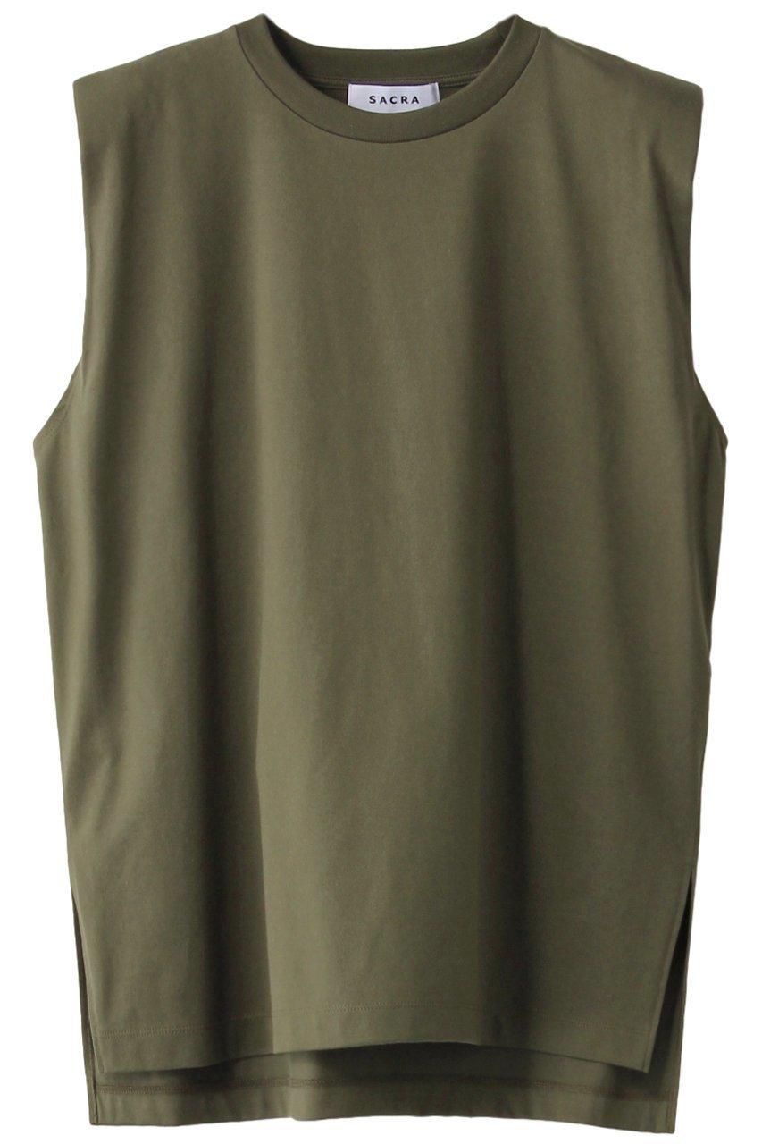 直線的な肩がポイントのクルーネックノースリーブトップス 人気、トレンドファッション・服の通販 founy(ファニー) 【サクラ/SACRA】 トレンドファッション・スタイル  Fashion Trends ブランド Brand ファッション Fashion レディースファッション WOMEN トップス・カットソー Tops/Tshirt キャミソール / ノースリーブ No Sleeves シャツ/ブラウス Shirts/Blouses ロング / Tシャツ T-Shirts カットソー Cut and Sewn キャミソール シンプル タンク |ID:prp329100001361824