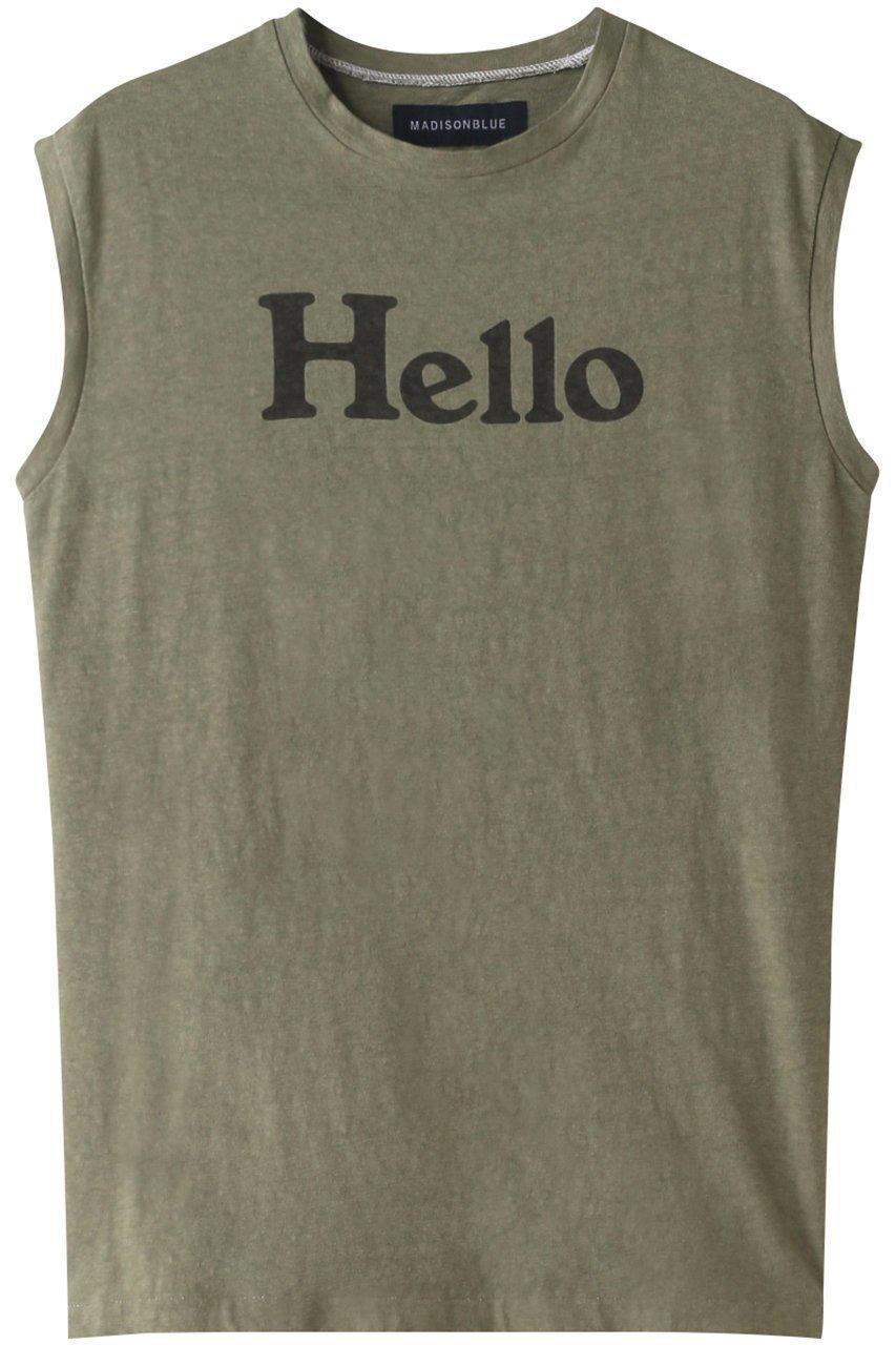 定番のHELLO Tシャツに新色としてカーキが登場!洗いをかけてプリントに風合いを出したノースリーブTシャツ おすすめで人気、流行・トレンド、ファッション通販商品 インテリア・家具・キッズファッション・メンズファッション・レディースファッション・服の通販 founy(ファニー) 【マディソンブルー/MADISONBLUE】 トレンドファッション・スタイル  Fashion Trends ブランド Brand ファッション Fashion レディースファッション WOMEN トップス・カットソー Tops/Tshirt キャミソール / ノースリーブ No Sleeves シャツ/ブラウス Shirts/Blouses ロング / Tシャツ T-Shirts カットソー Cut and Sewn キャミソール タンク ノースリーブ プリント 定番 Standard |ID:prp329100001080788
