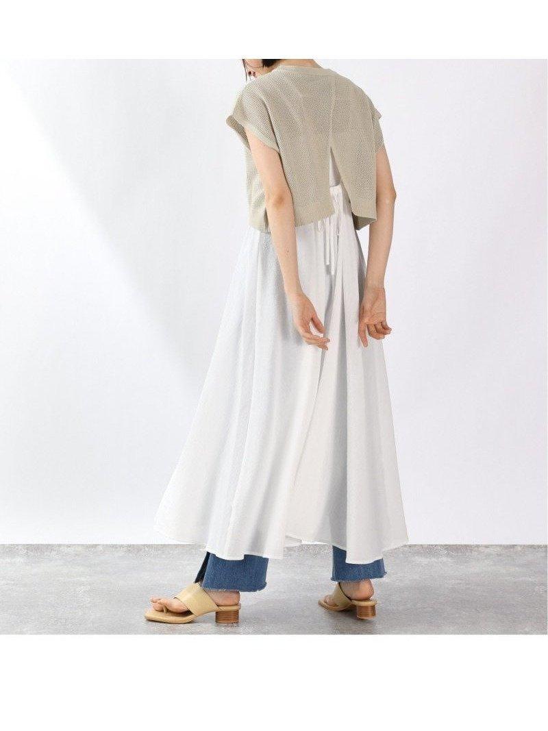 後ろのスリットがポイントのノースリーブニットに、表面感のある楊柳素材を使ったキャミワンピースの2P 人気、トレンドファッション・服の通販 founy(ファニー) 【ローリーズファーム/LOWRYS FARM】 トレンドファッション・スタイル  Fashion Trends ブランド Brand ファッション Fashion レディースファッション WOMEN ワンピース Dress ニットワンピース Knit Dresses キャミワンピース ショート スリット ノースリーブ リボン  ID:prp329100001566300