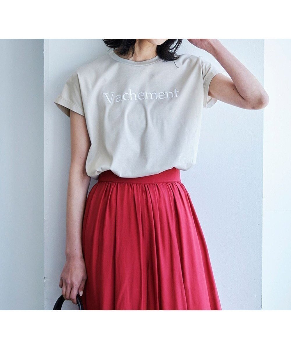 【撥水・汗シミ防止】刺繍がポイント、夏を楽しむ大人のためのロゴTシャツ 人気、トレンドファッション・服の通販 founy(ファニー) 【自由区/JIYU-KU】 トレンドファッション・スタイル  Fashion Trends ブランド Brand ファッション Fashion レディースファッション WOMEN トップス・カットソー Tops/Tshirt シャツ/ブラウス Shirts/Blouses ロング / Tシャツ T-Shirts カットソー Cut and Sewn カットソー スリーブ フレンチ 無地 送料無料 Free Shipping おすすめ Recommend 夏 Summer |ID:prp329100001634692
