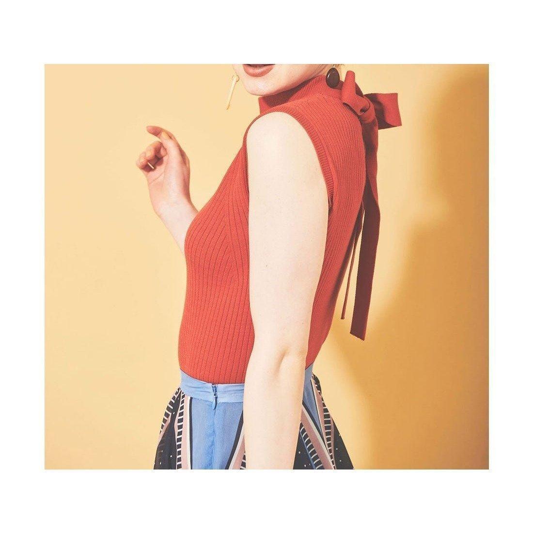 後ろ姿にポイントを置いた使いやすいシンプルなノースリーブのワイドリブニット おすすめで人気、流行・トレンド、ファッション通販商品 インテリア・家具・キッズファッション・メンズファッション・レディースファッション・服の通販 founy(ファニー) 【トランテアン ソン ドゥ モード/31 Sons de mode】 トレンドファッション・スタイル  Fashion Trends ブランド Brand ファッション Fashion レディースファッション WOMEN トップス・カットソー Tops/Tshirt ニット Knit Tops キャミソール / ノースリーブ No Sleeves 春 Spring シンプル ノースリーブ リボン 2021年 2021 S/S・春夏 SS・Spring/Summer 2021春夏・S/S SS/Spring/Summer/2021 夏 Summer |ID:prp329100001569856