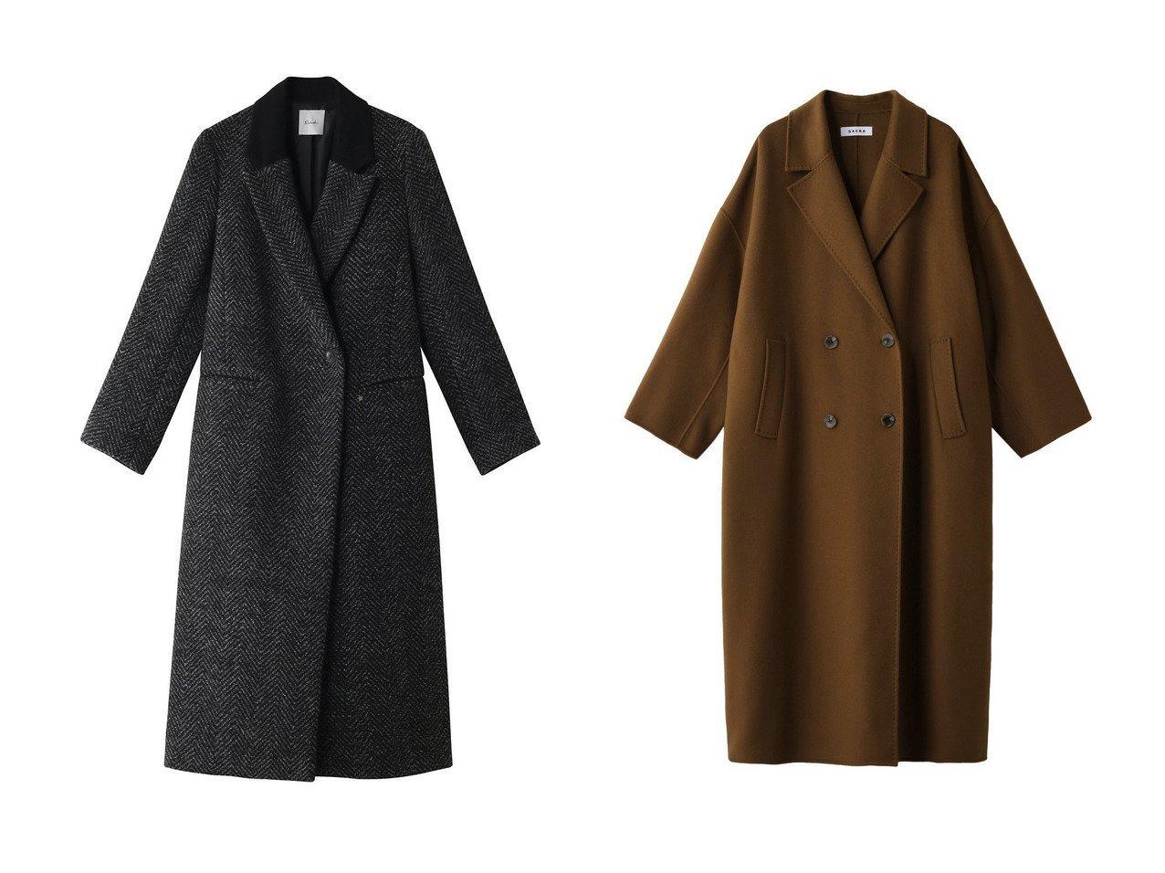 【SACRA/サクラ】のテーラリングロングコート&【Ezick/エジック】のツイードWチェスターコート アウターのおすすめ!人気、レディースファッションの通販  おすすめで人気のファッション通販商品 インテリア・家具・キッズファッション・メンズファッション・レディースファッション・服の通販 founy(ファニー) https://founy.com/ ファッション Fashion レディース WOMEN アウター Coat Outerwear コート Coats チェスターコート Top Coat オケージョン クラシカル チェスターコート ツイード ポケット ロング 無地 シンプル  ID:crp329100000000121