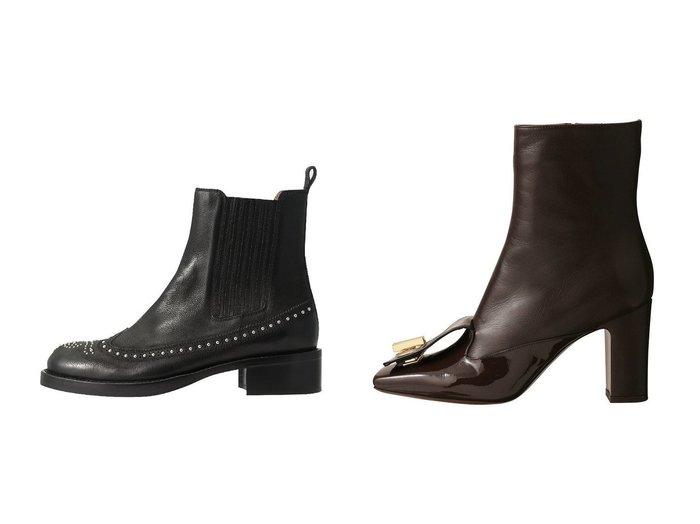 【L'AUTRE CHOSE/ロートル ショーズ】のバックル付きパテントコンビショートブーツ&【SARTORE/サルトル】のスタッズ付きウィングチップショートブーツ シューズ・靴のおすすめ!人気、レディースファッションの通販  おすすめファッション通販アイテム レディースファッション・服の通販 founy(ファニー) ファッション Fashion レディース WOMEN ショート スタッズ なめらか ミドル |ID:crp329100000000384