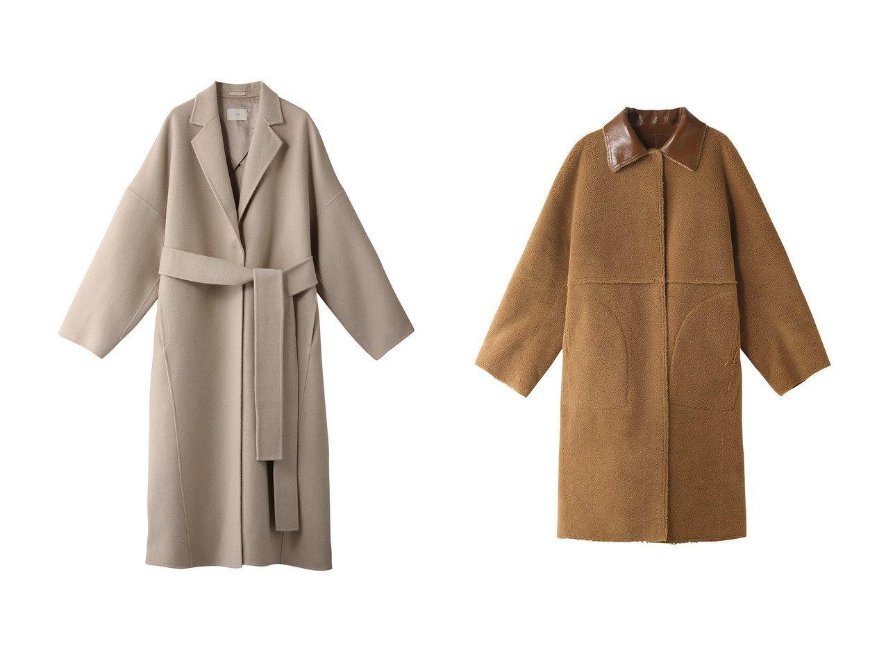 【LE CIEL BLEU/ルシェル ブルー】のフェイクパテントシアリングコート&【LE PHIL/ル フィル】のソフトウールビーバーコート アウターのおすすめ!人気、レディースファッションの通販  おすすめで人気のファッション通販商品 インテリア・家具・キッズファッション・メンズファッション・レディースファッション・服の通販 founy(ファニー) https://founy.com/ ファッション Fashion レディース WOMEN アウター Coat Outerwear コート Coats ショルダー ドロップ ロング  ID:crp329100000000457