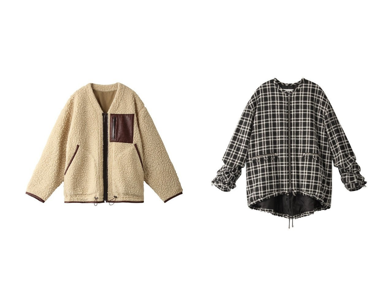 【muller of yoshiokubo/ミュラー オブ ヨシオクボ】のリバーシブルボアブルゾン&【RITO/リト】のウールチェックツイードブルゾン アウターのおすすめ!人気、レディースファッションの通販  おすすめで人気のファッション通販商品 インテリア・家具・キッズファッション・メンズファッション・レディースファッション・服の通販 founy(ファニー) https://founy.com/ ファッション Fashion レディース WOMEN アウター Coat Outerwear ジャケット Jackets ブルゾン Blouson Jackets ジャケット パイピング フラット ブルゾン リバーシブル チェック ツイード フリンジ 秋  ID:crp329100000000461