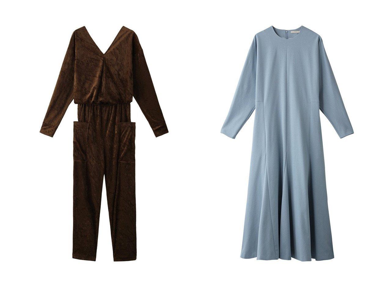 【JET/ジェット】の【JET LOSANGELES】ベロアオールインワン&【LE PHIL/ル フィル】のライトポンチワンピース ワンピース・ドレスのおすすめ!人気、レディースファッションの通販  おすすめで人気のファッション通販商品 インテリア・家具・キッズファッション・メンズファッション・レディースファッション・服の通販 founy(ファニー) https://founy.com/ ファッション Fashion レディース WOMEN ワンピース Dress オールインワン ワンピース All In One Dress ベロア ポケット ショルダー スリーブ フレア ロング |ID:crp329100000000615