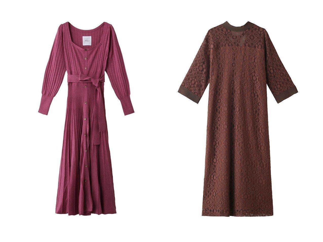 【MARILYN MOON/マリリンムーン】のレースワンピース&【The Virgnia/ザ ヴァージニア】のスクエアワイドリブニットワンピース ワンピース・ドレスのおすすめ!人気、レディースファッションの通販  おすすめで人気のファッション通販商品 インテリア・家具・キッズファッション・メンズファッション・レディースファッション・服の通販 founy(ファニー) https://founy.com/ ファッション Fashion レディース WOMEN ワンピース Dress ニットワンピース Knit Dresses コンパクト スクエア スリーブ フィット フェミニン フレア ロング |ID:crp329100000000619