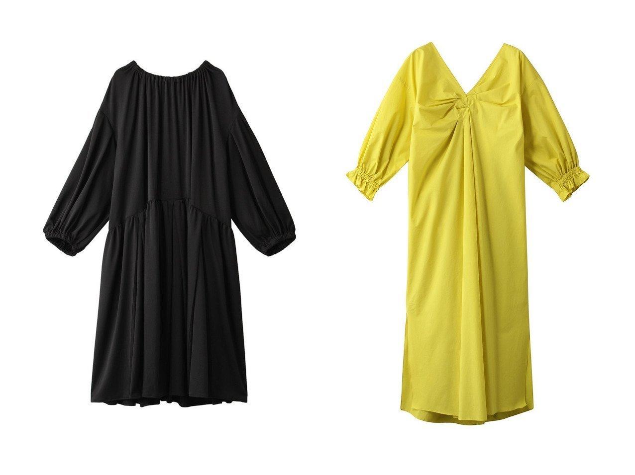 【muller of yoshiokubo/ミュラー オブ ヨシオクボ】のタックスカートドレス&【Rawtus/ロゥタス】のコットンツイストドレープドレス ワンピース・ドレスのおすすめ!人気、レディースファッションの通販  おすすめで人気のファッション通販商品 インテリア・家具・キッズファッション・メンズファッション・レディースファッション・服の通販 founy(ファニー) https://founy.com/ ファッション Fashion レディース WOMEN ワンピース Dress ドレス Party Dresses シンプル トレンド ドレス リボン ツイスト ドレープ  ID:crp329100000000693
