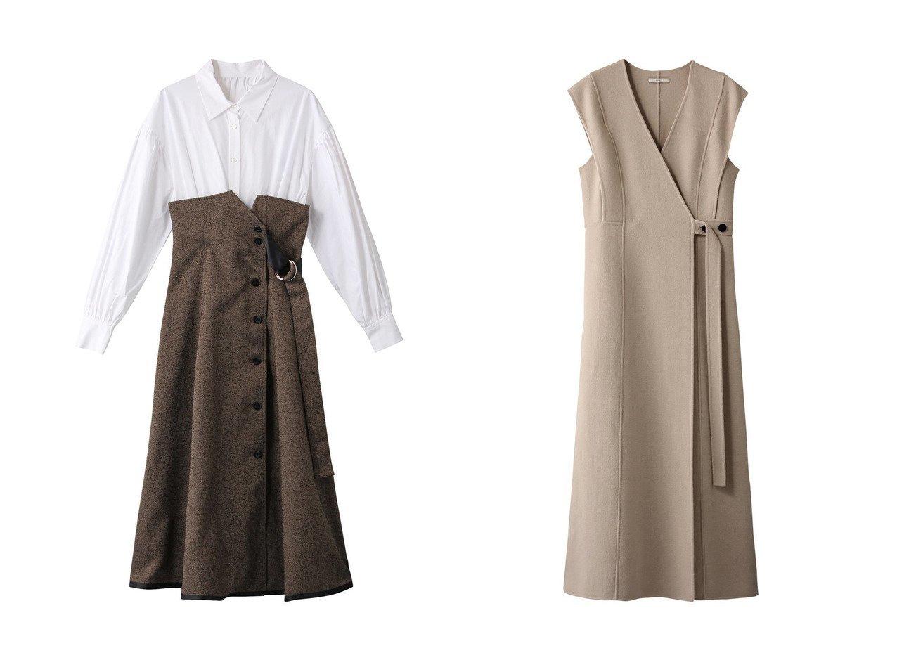 【The Virgnia/ザ ヴァージニア】のタスランモールドッキングワンピース&【LE PHIL/ル フィル】のソフトウールビーバーワンピース ワンピース・ドレスのおすすめ!人気、レディースファッションの通販  おすすめで人気のファッション通販商品 インテリア・家具・キッズファッション・メンズファッション・レディースファッション・服の通販 founy(ファニー) https://founy.com/ ファッション Fashion レディース WOMEN ワンピース Dress クラシカル コルセット ドッキング ヘリンボーン ロング  ID:crp329100000000699