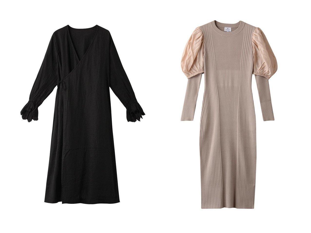 【LANVIN en Bleu/ランバン オン ブルー】のオーガンジースリーブニットワンピース&【nest Robe/ネストローブ】の-Li スカラップ刺繍ワンピース ワンピース・ドレスのおすすめ!人気、レディースファッションの通販  おすすめで人気のファッション通販商品 インテリア・家具・キッズファッション・メンズファッション・レディースファッション・服の通販 founy(ファニー) https://founy.com/ ファッション Fashion レディース WOMEN ワンピース Dress ニットワンピース Knit Dresses シンプル スカラップ ロング 秋 アクセサリー オーガンジー クラシカル スリーブ トレンド  ID:crp329100000000704