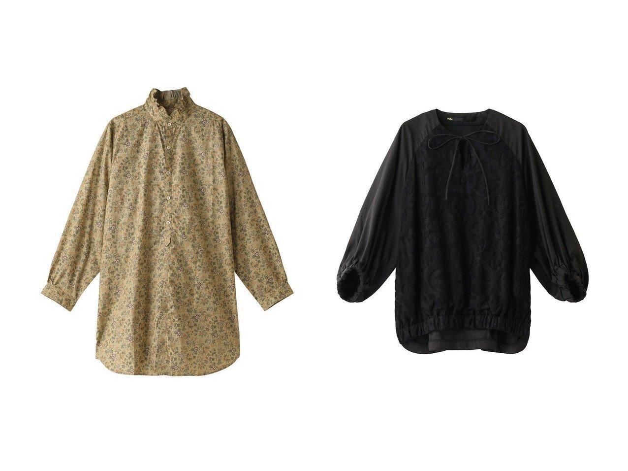 【nanadecor/ナナデコール】のフラワーRMシャツチュニック&【muller of yoshiokubo/ミュラー オブ ヨシオクボ】のウォールレースブラウス トップス・カットソーのおすすめ!人気、レディースファッションの通販  おすすめで人気のファッション通販商品 インテリア・家具・キッズファッション・メンズファッション・レディースファッション・服の通販 founy(ファニー) https://founy.com/ ファッション Fashion レディース WOMEN トップス Tops Tshirt シャツ/ブラウス Shirts Blouses スリーブ チュニック フェミニン フラワー フリル プリント ロング |ID:crp329100000000752