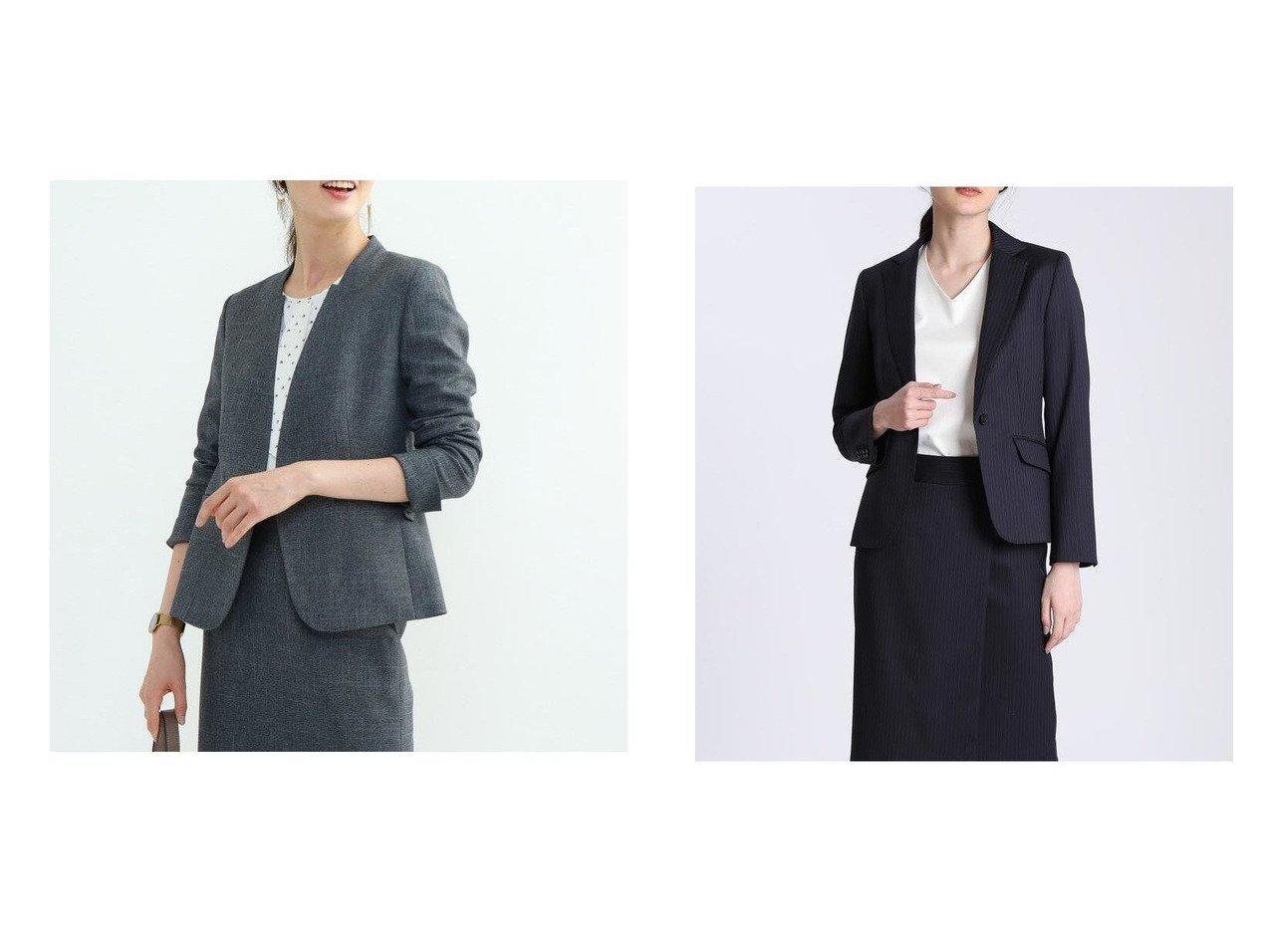 【INED/イネド】のピンストライプテーラードジャケット&【INDIVI/インディヴィ】の【マシンウォッシュ/吸水速乾】ツムギートツイルノーカラージャケット アウターのおすすめ!人気、レディースファッションの通販 おすすめで人気のファッション通販商品 インテリア・家具・キッズファッション・メンズファッション・レディースファッション・服の通販 founy(ファニー) https://founy.com/ ファッション Fashion レディース WOMEN アウター Coat Outerwear ジャケット Jackets ノーカラージャケット No Collar Leather Jackets スーツ Suits スーツ ジャケット Jacket テーラードジャケット Tailored Jackets 吸水 ジャケット ストレッチ スマホ スリット スーツ セットアップ フォーマル ポケット ストライプ ベーシック マニッシュ |ID:crp329100000001255