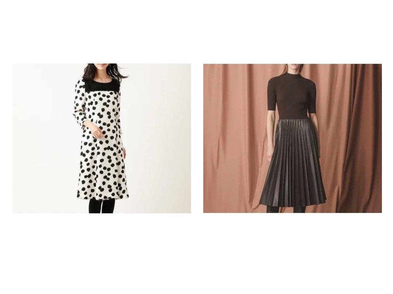 【EPOCA/エポカ】の【La maglia】プリーツコンビニットドレス&【TO BE CHIC/トゥー ビー シック】のドットサテンドレス ワンピース・ドレスのおすすめ!人気、レディースファッションの通販 おすすめで人気のファッション通販商品 インテリア・家具・キッズファッション・メンズファッション・レディースファッション・服の通販 founy(ファニー) https://founy.com/ ファッション Fashion レディース WOMEN ワンピース Dress ドレス Party Dresses ケミカル サテン ストレッチ スリット ドット ドレス フィット フォルム フォーマル プリント ヨーク レース 切替 無地 シンプル ダウン ドッキング プリーツ  ID:crp329100000001354