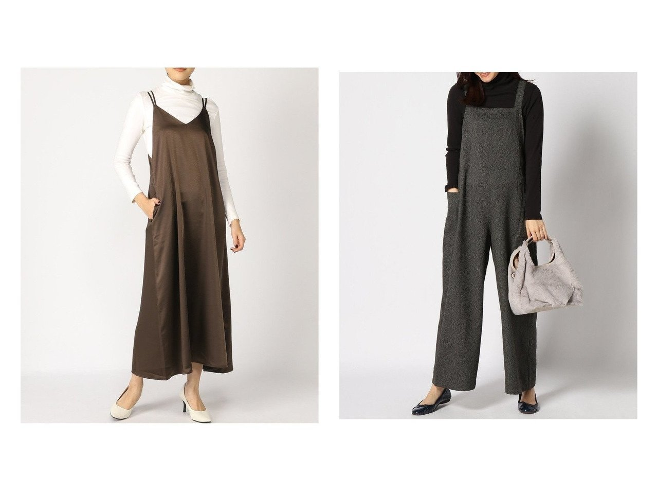 【studio CLIP/スタディオ クリップ】のツィードシンプルサロペット&【GLOBAL WORK/グローバルワーク】のVintageサテンOP+D ワンピース・ドレスのおすすめ!人気、レディースファッションの通販 おすすめで人気のファッション通販商品 インテリア・家具・キッズファッション・メンズファッション・レディースファッション・服の通販 founy(ファニー) https://founy.com/ ファッション Fashion レディース WOMEN ワンピース Dress キャミワンピース No Sleeve Dresses オールインワン ワンピース All In One Dress サロペット Salopette キャミワンピース サテン ジャケット ストレッチ カットソー サロペット シンプル ジーンズ ツイード ポケット 秋冬 A/W Autumn/ Winter  ID:crp329100000001364