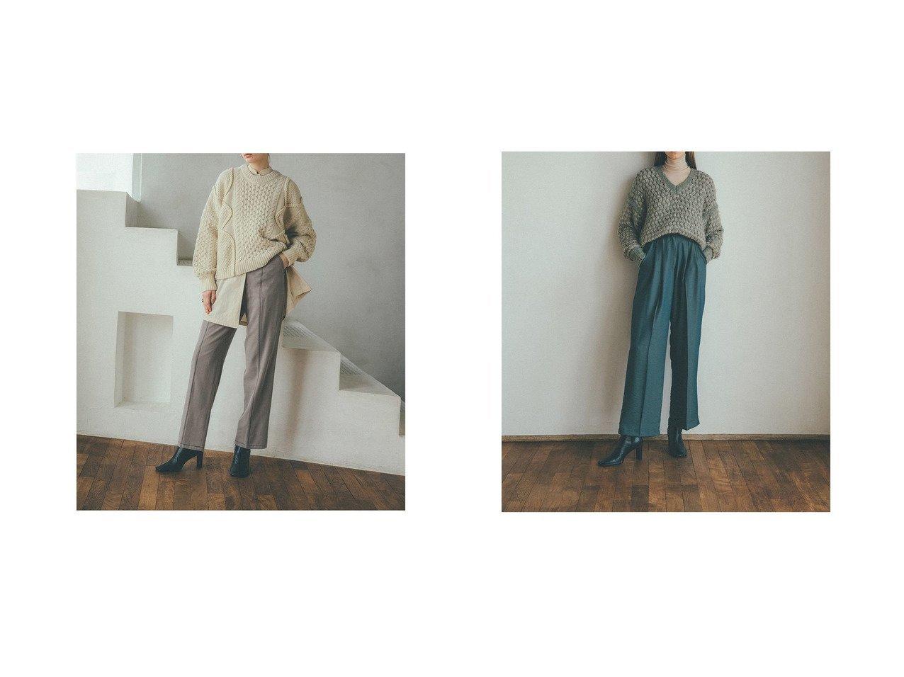 【CLANE/クラネ】のSTITCH WORK STRIGHT PANTS&GLOSS WEAVE TUCK PANTS パンツのおすすめ!人気、レディースファッションの通販 おすすめで人気のファッション通販商品 インテリア・家具・キッズファッション・メンズファッション・レディースファッション・服の通販 founy(ファニー) https://founy.com/ ファッション Fashion レディース WOMEN パンツ Pants ストレート センター とろみ ベーシック |ID:crp329100000001390