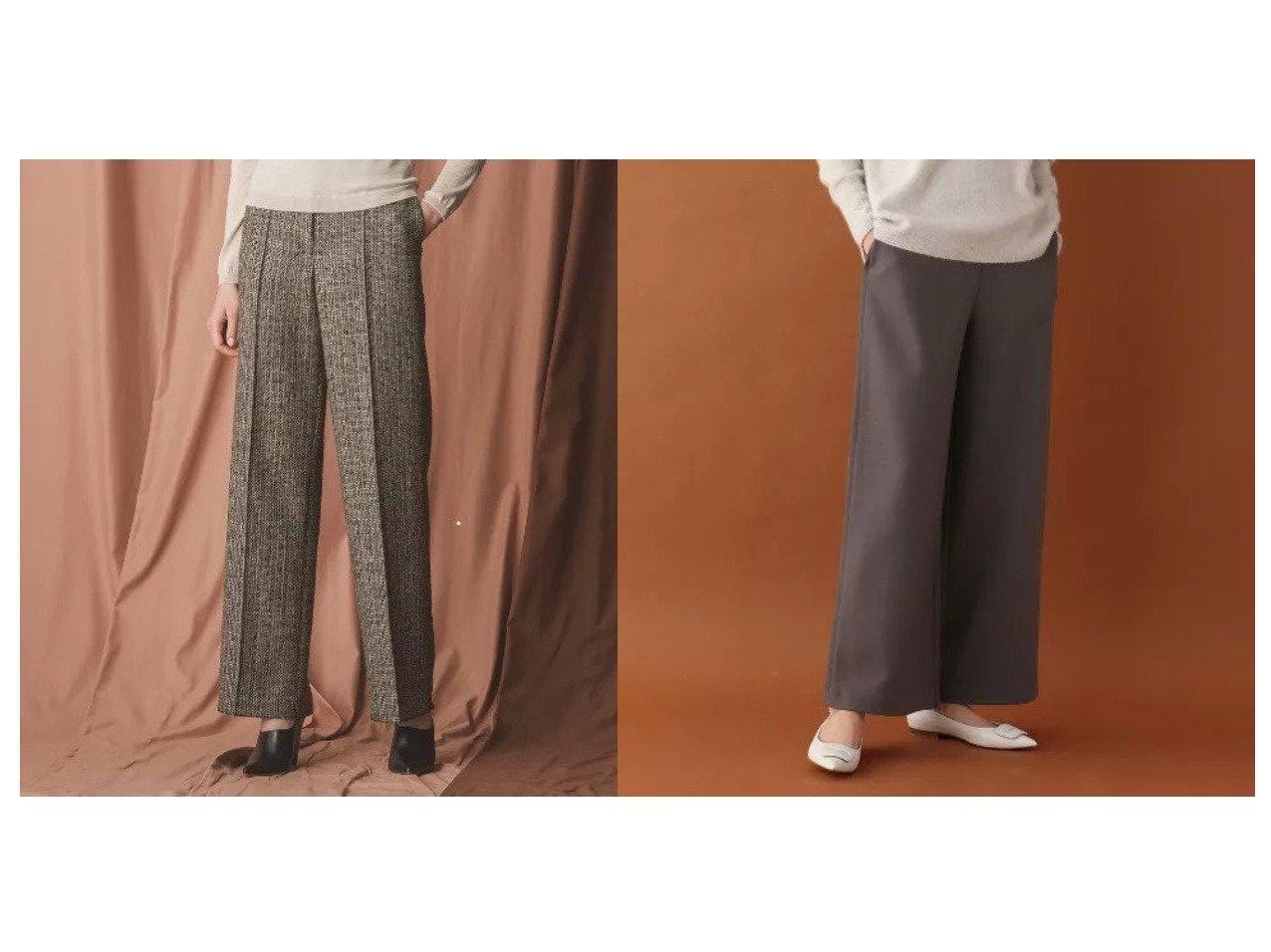 【DRESSTERIOR/ドレステリア】のシャインミルドスムースワイドパンツ&【EPOCA/エポカ】の【24 TWENTY FOUR JACKET Tweed】ストレートラインパンツ パンツのおすすめ!人気、レディースファッションの通販 おすすめで人気のファッション通販商品 インテリア・家具・キッズファッション・メンズファッション・レディースファッション・服の通販 founy(ファニー) https://founy.com/ ファッション Fashion レディース WOMEN アウター Coat Outerwear ジャケット Jackets パンツ Pants ジャケット ストレッチ ツイード ストレート ワイド  ID:crp329100000001429