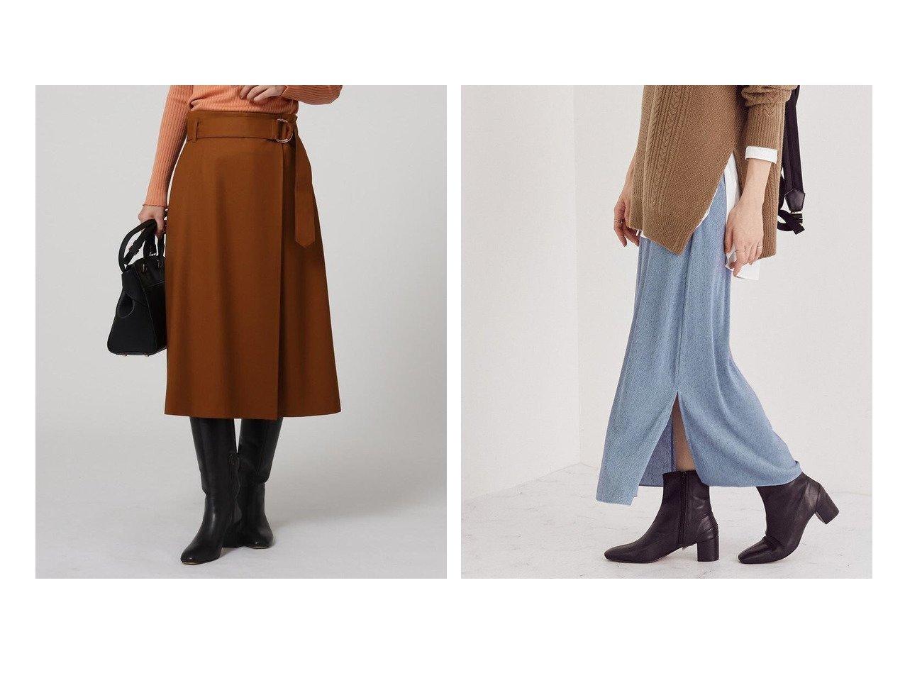 【ROPE/ロペ】のジャージーミニプリーツナロースカート&【UNTITLED/アンタイトル】のファインサキソニーストレッチ ラップ風スカート スカートのおすすめ!人気、レディースファッションの通販 おすすめで人気のファッション通販商品 インテリア・家具・キッズファッション・メンズファッション・レディースファッション・服の通販 founy(ファニー) https://founy.com/ ファッション Fashion レディース WOMEN スカート Skirt Aライン/フレアスカート Flared A-Line Skirts ストレッチ フィット フレア フロント ポケット ラップ カットソー スウェット スリット 秋冬 A/W Autumn/ Winter  ID:crp329100000001481