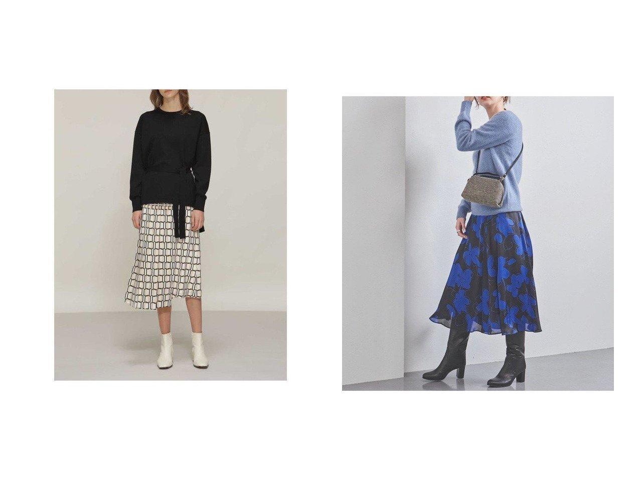 【UNITED ARROWS/ユナイテッドアローズ】のUBCB P フラワープリント フレアスカート†&【BOSCH/ボッシュ】のスクエアプリントスカート スカートのおすすめ!人気、レディースファッションの通販 おすすめで人気のファッション通販商品 インテリア・家具・キッズファッション・メンズファッション・レディースファッション・服の通販 founy(ファニー) https://founy.com/ ファッション Fashion レディース WOMEN スカート Skirt Aライン/フレアスカート Flared A-Line Skirts エレガント クラシカル ジャケット バランス プリント プリーツ ギャザー サテン フラワー フレア |ID:crp329100000001482