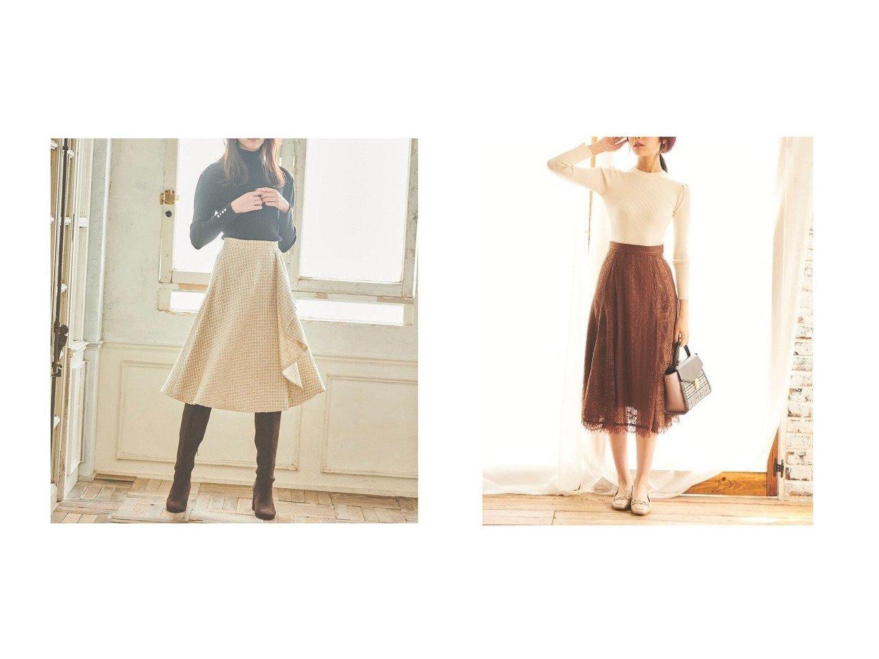 【31 Sons de mode/トランテアン ソン ドゥ モード】の【スカート】ストライプレースフレアスカート&ラッフルツイードフレアスカート スカートのおすすめ!人気、レディースファッションの通販 おすすめで人気のファッション通販商品 インテリア・家具・キッズファッション・メンズファッション・レディースファッション・服の通販 founy(ファニー) https://founy.com/ ファッション Fashion レディース WOMEN スカート Skirt Aライン/フレアスカート Flared A-Line Skirts ツイード 定番 フリル フレア 冬 Winter |ID:crp329100000001510
