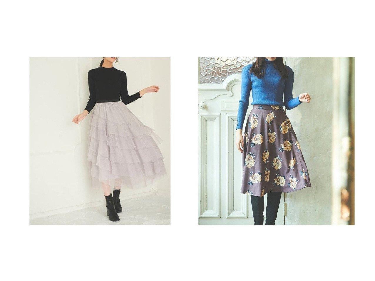 【31 Sons de mode/トランテアン ソン ドゥ モード】の【スカート】フラワープリントフレアスカート&【スカート 】フリルドットチュールスカート スカートのおすすめ!人気、レディースファッションの通販 おすすめで人気のファッション通販商品 インテリア・家具・キッズファッション・メンズファッション・レディースファッション・服の通販 founy(ファニー) https://founy.com/ ファッション Fashion レディース WOMEN スカート Skirt Aライン/フレアスカート Flared A-Line Skirts シンプル フェミニン フリル 冬 Winter  ID:crp329100000001516