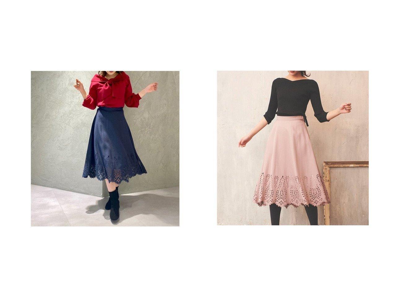 【31 Sons de mode/トランテアン ソン ドゥ モード】の【スカート】ヒートカットフレアスカート スカートのおすすめ!人気、レディースファッションの通販 おすすめで人気のファッション通販商品 インテリア・家具・キッズファッション・メンズファッション・レディースファッション・服の通販 founy(ファニー) https://founy.com/ ファッション Fashion レディース WOMEN スカート Skirt Aライン/フレアスカート Flared A-Line Skirts エレガント カットソー シンプル 透かし ツイル デニム トレンド ペイズリー ラッフル ラベンダー レース 冬 Winter  ID:crp329100000001521