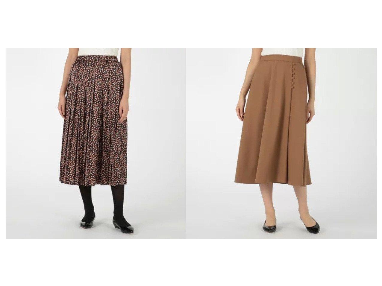 【MELROSE claire/メルローズ クレール】のTRストレッチツイルラップ風フレアスカート&リーフプリントプリーツロングスカート スカートのおすすめ!人気、レディースファッションの通販 おすすめで人気のファッション通販商品 インテリア・家具・キッズファッション・メンズファッション・レディースファッション・服の通販 founy(ファニー) https://founy.com/ ファッション Fashion レディース WOMEN スカート Skirt ロングスカート Long Skirt Aライン/フレアスカート Flared A-Line Skirts エレガント タイツ プリント プリーツ マキシ リーフ ロング  ID:crp329100000001525