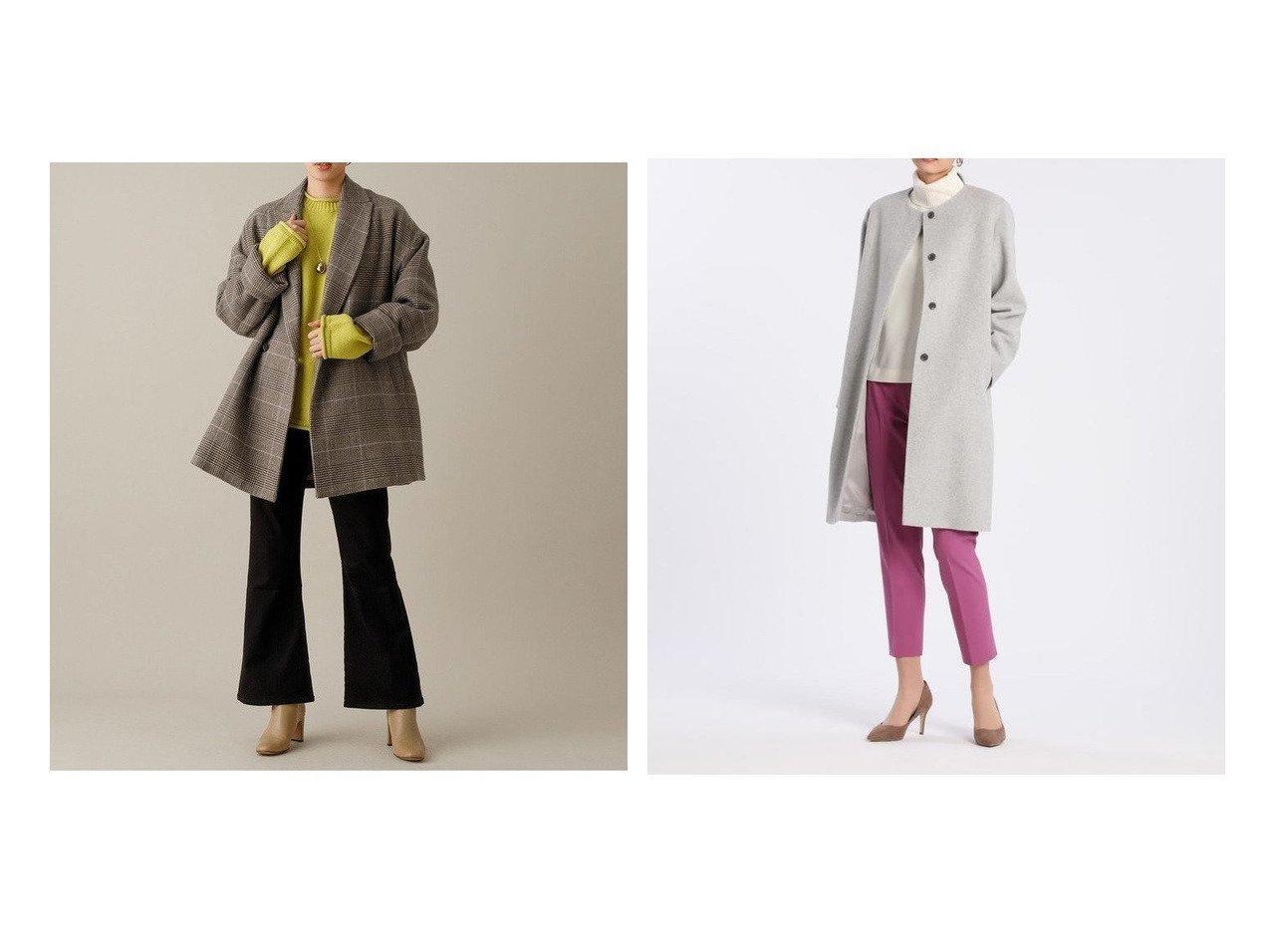 【INED/イネド】のノーカラーコート《Super110 s Wool》&【Adam et Rope/アダム エ ロペ】のテーラードジャケットコート アウターのおすすめ!人気、レディースファッションの通販 おすすめで人気のファッション通販商品 インテリア・家具・キッズファッション・メンズファッション・レディースファッション・服の通販 founy(ファニー) https://founy.com/ ファッション Fashion レディース WOMEN アウター Coat Outerwear コート Coats ジャケット Jackets テーラードジャケット Tailored Jackets ショート シンプル ジャケット チェック フェミニン ポケット 無地 クラシカル 冬 Winter  ID:crp329100000001682