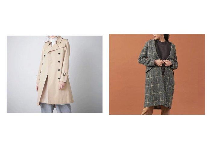 【abahouse mavie/アバハウスマヴィ】のecru 【Le Tinte】ウール混チェックチェスターコート&【SANYO/サンヨー】のダブルトレンチコート アウターのおすすめ!人気、レディースファッションの通販 おすすめファッション通販アイテム インテリア・キッズ・メンズ・レディースファッション・服の通販 founy(ファニー) https://founy.com/ ファッション Fashion レディース WOMEN アウター Coat Outerwear コート Coats トレンチコート Trench Coats チェスターコート Top Coat エレガント スタンダード ダブル プリーツ ポケット ライナー リバーシブル イエロー チェスターコート チェック デニム フラップ フロント 防寒 |ID:crp329100000001748