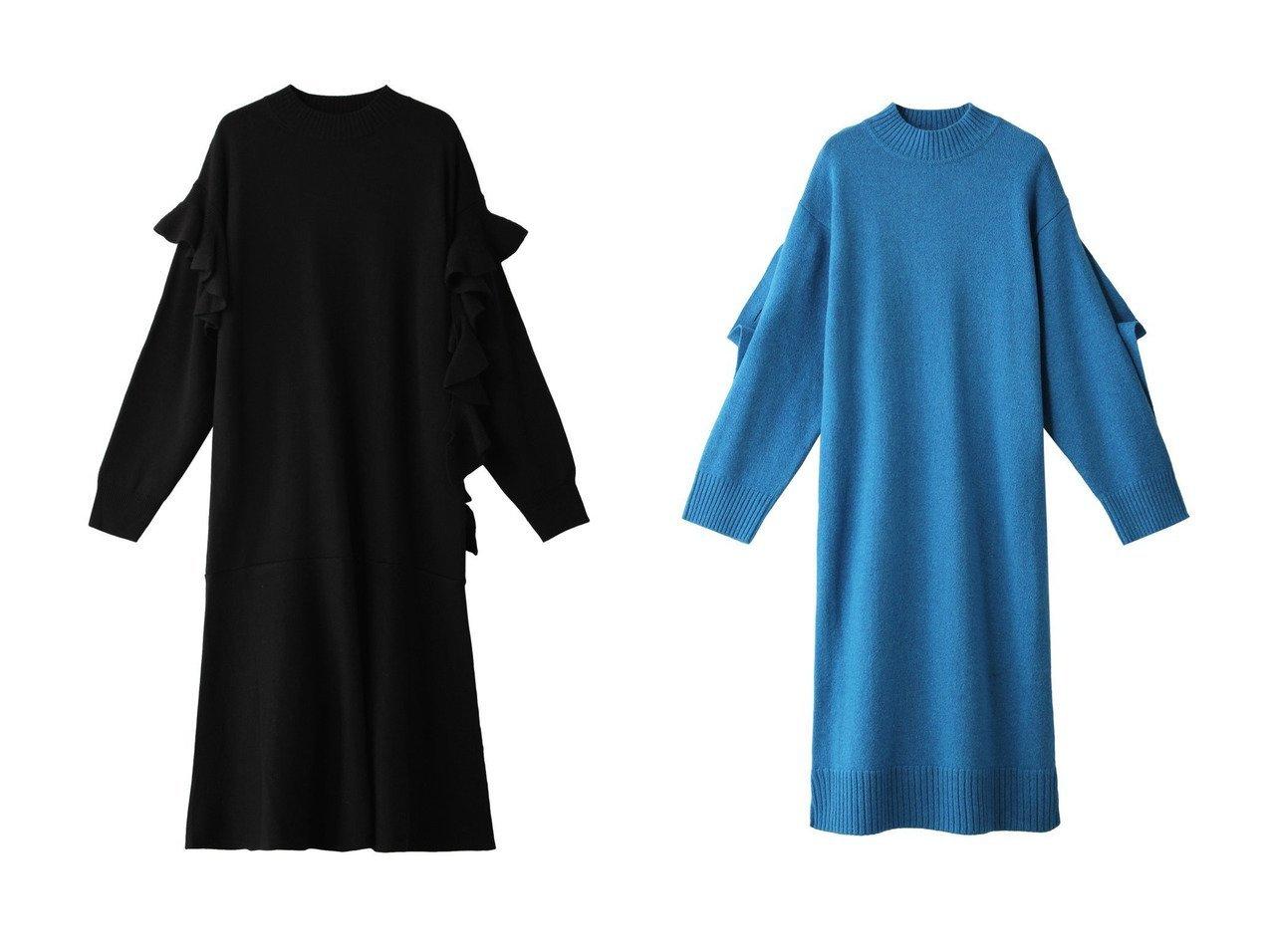 【LE CIEL BLEU/ルシェル ブルー】のフリルテープニットドレス&アシンメトリーニットドレス ワンピース・ドレスのおすすめ!人気、レディースファッションの通販 おすすめで人気のファッション通販商品 インテリア・家具・キッズファッション・メンズファッション・レディースファッション・服の通販 founy(ファニー) https://founy.com/ ファッション Fashion レディース WOMEN ワンピース Dress ドレス Party Dresses コンパクト シンプル ドレス フリル ロング |ID:crp329100000001801