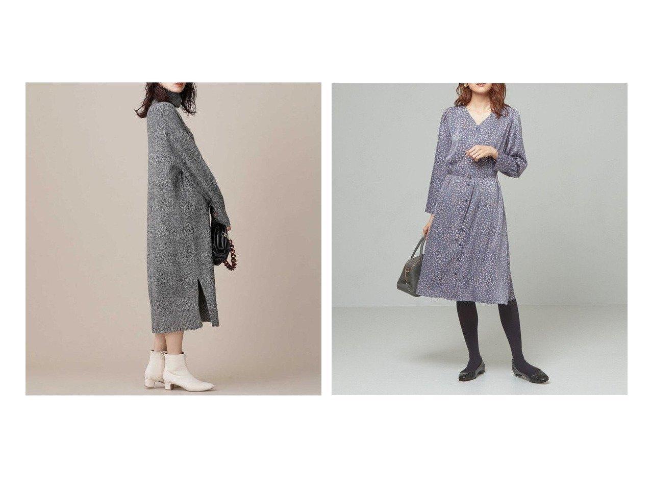 【THE STATION STORE/ザ ステーション ストア ユナイテッドアローズ】のブラッシュプリント フロントボタンワンピース -手洗い可能-&【nano universe/ナノ ユニバース】の撚り杢ニットワンピース ワンピース・ドレスのおすすめ!人気、レディースファッションの通販 おすすめで人気のファッション通販商品 インテリア・家具・キッズファッション・メンズファッション・レディースファッション・服の通販 founy(ファニー) https://founy.com/ ファッション Fashion レディース WOMEN ワンピース Dress ニットワンピース Knit Dresses ショルダー スリット タートルネック ドロップ ミックス アンダー エレガント カフス サテン フロント プリント 人気 秋 |ID:crp329100000001832