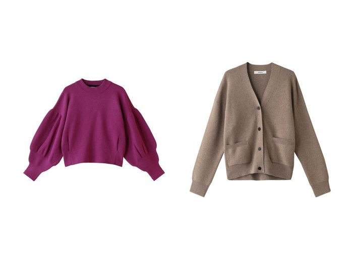 【LANVIN en Bleu/ランバン オン ブルー】のボリュームスリーブニット&【ebure/エブール】のソフトスムースニット Vネックカーディガン トップス・カットソーのおすすめ!人気、レディースファッションの通販 おすすめファッション通販アイテム レディースファッション・服の通販 founy(ファニー) ファッション Fashion レディース WOMEN トップス Tops Tshirt ニット Knit Tops プルオーバー Pullover ボリュームスリーブ / フリル袖 Volume Sleeve カーディガン Cardigans Vネック V-Neck ショート バランス ボトム カーディガン 秋冬 A/W Autumn/ Winter |ID:crp329100000001945