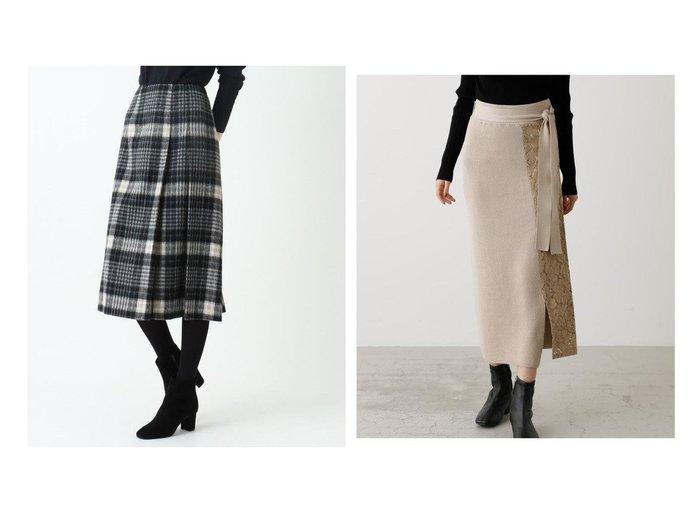 【SOFUOL/ソフール】のシャギーチェックタックスカート&【AZUL by moussy/アズール バイ マウジー】のLACE DOCKING KNIT SKIRT スカートのおすすめ!人気、レディースファッションの通販 おすすめファッション通販アイテム レディースファッション・服の通販 founy(ファニー) ファッション Fashion レディース WOMEN スカート Skirt Aライン/フレアスカート Flared A-Line Skirts フロント ポケット 冬 Winter セットアップ ドッキング レース |ID:crp329100000002180