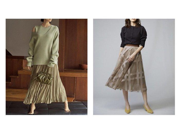 【SNIDEL/スナイデル】のエンブロイダリーチェックスカート&【Mila Owen/ミラオーウェン】の深Vニットワッシャースカートレイヤードワンピース スカートのおすすめ!人気、レディースファッションの通販 おすすめファッション通販アイテム インテリア・キッズ・メンズ・レディースファッション・服の通販 founy(ファニー) https://founy.com/ ファッション Fashion レディース WOMEN ワンピース Dress スカート Skirt ロングスカート Long Skirt セパレート トレンド ドッキング ノースリーブ フラワー 今季 秋冬 A/W Autumn/ Winter エアリー オーガンジー クラシカル シアー チェック チュール バランス ファブリック フレア ミドル レース ロング |ID:crp329100000002221