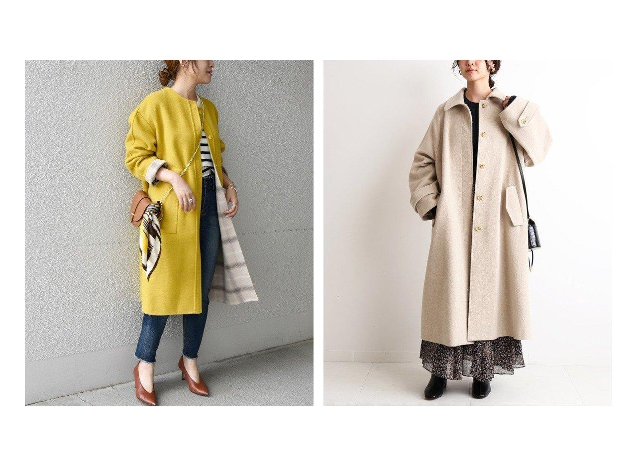 【SLOBE IENA/スローブ イエナ】のSUPER100 ステンカラーコート&【SHIPS any/シップス エニィ】のSHIPS any リバーチェックノーカラーコート アウターのおすすめ!人気、レディースファッションの通販  おすすめで人気のファッション通販商品 インテリア・家具・キッズファッション・メンズファッション・レディースファッション・服の通販 founy(ファニー) https://founy.com/ ファッション Fashion レディース WOMEN アウター Coat Outerwear コート Coats スタンダード チェック デニム フロント 無地 リバーシブル ストライプ 定番 バランス フェミニン 秋冬 A/W Autumn/ Winter |ID:crp329100000002330