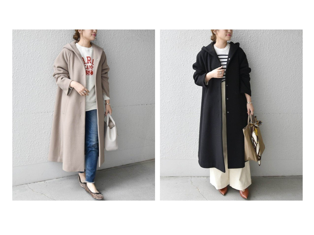 【SHIPS any/シップス エニィ】のSHIPS any SORONA フーデットコート アウターのおすすめ!人気、レディースファッションの通販  おすすめで人気のファッション通販商品 インテリア・家具・キッズファッション・メンズファッション・レディースファッション・服の通販 founy(ファニー) https://founy.com/ ファッション Fashion レディース WOMEN アウター Coat Outerwear コート Coats カシミヤ ガウン グログラン シンプル ドット リラックス ロング 冬 Winter |ID:crp329100000002336
