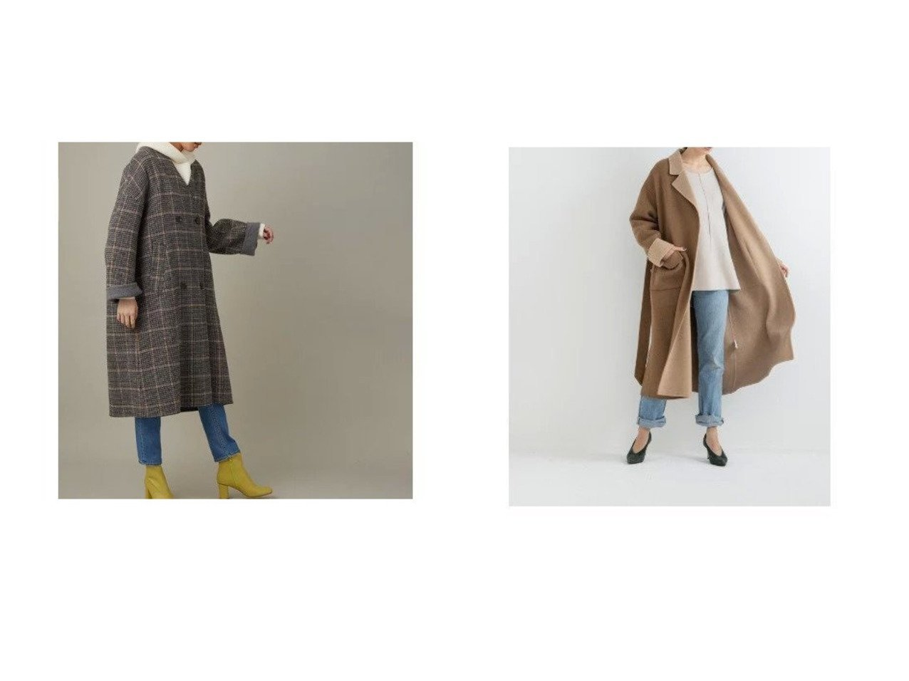 【STYLE BAR/スタイルバー】の【Emma Taylor】W FACE GOWN COAT&【Adam et Rope/アダム エ ロペ】のCHECKビーバーリバーコート アウターのおすすめ!人気、レディースファッションの通販  おすすめで人気のファッション通販商品 インテリア・家具・キッズファッション・メンズファッション・レディースファッション・服の通販 founy(ファニー) https://founy.com/ ファッション Fashion レディース WOMEN アウター Coat Outerwear コート Coats インナー シンプル タートルネック チェック ポケット 無地 秋冬 A/W Autumn/ Winter ガウン 今季 デニム トレンド フェミニン プリーツ |ID:crp329100000002348