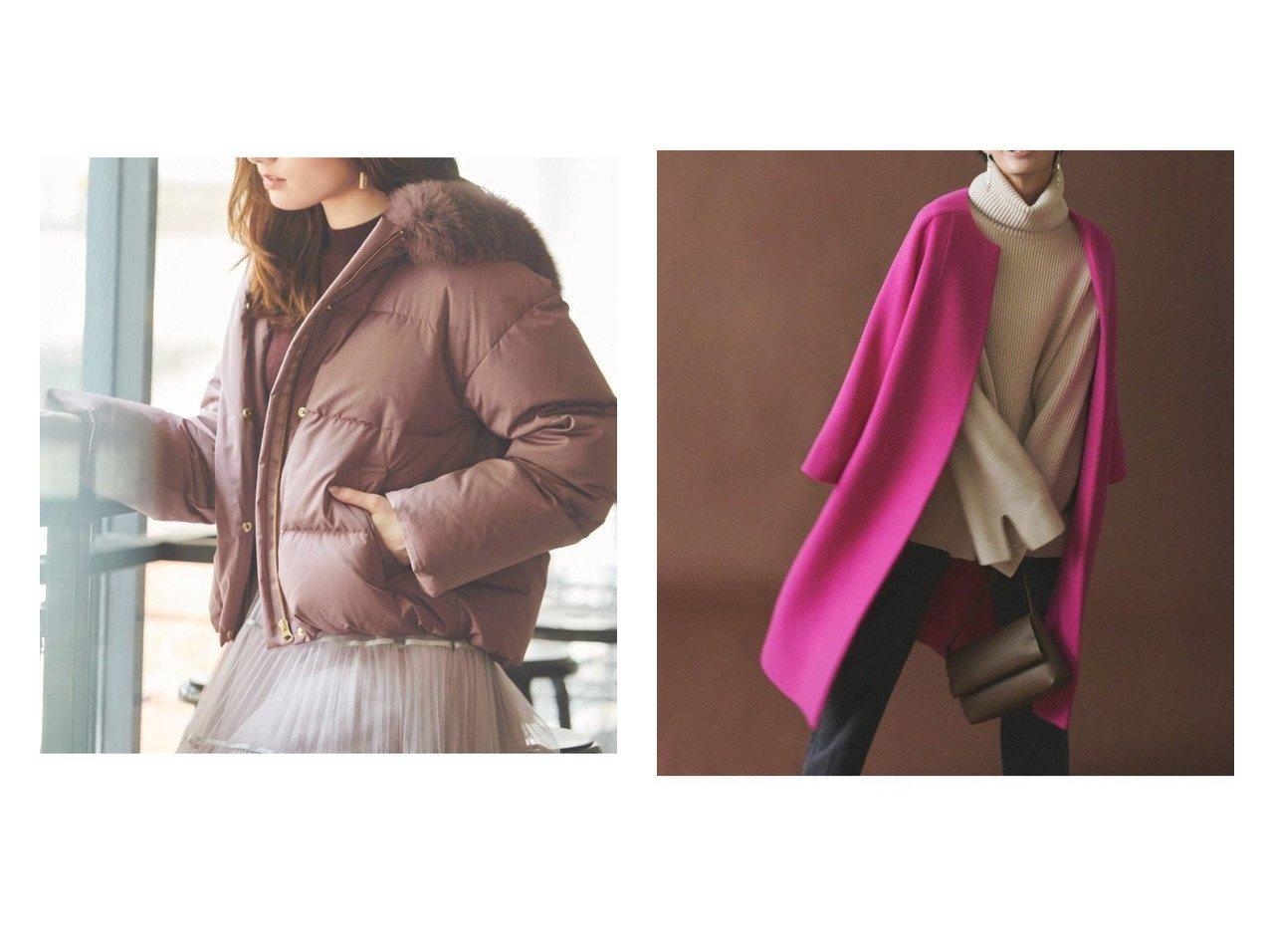 【Mila Owen/ミラオーウェン】のノーカラードルマンコート&【Noela/ノエラ】のショートダウンコート アウターのおすすめ!人気、レディースファッションの通販  おすすめで人気のファッション通販商品 インテリア・家具・キッズファッション・メンズファッション・レディースファッション・服の通販 founy(ファニー) https://founy.com/ ファッション Fashion レディース WOMEN アウター Coat Outerwear コート Coats ジャケット Jackets ダウン Down Coats And Jackets ノーカラージャケット No Collar Leather Jackets ショート ジャケット ダウン フォックス 防寒 イタリア ドレープ |ID:crp329100000002403