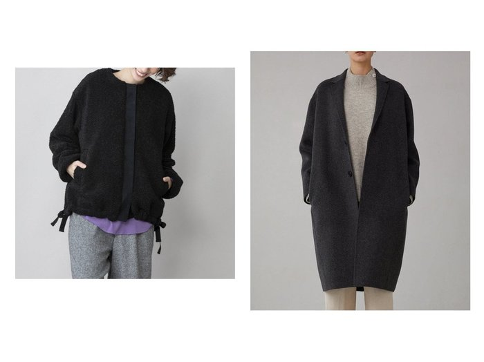 【Munich/ミューニック】のシープボアノーカラーブルゾン&【Bshop/ビショップ】の【LE GLAZIK】ラムウール リバーチェスターコート WOMEN アウターのおすすめ!人気、レディースファッションの通販  おすすめファッション通販アイテム インテリア・キッズ・メンズ・レディースファッション・服の通販 founy(ファニー) https://founy.com/ ファッション Fashion レディース WOMEN アウター Coat Outerwear コート Coats ジャケット Jackets ブルゾン Blouson Jackets チェスターコート Top Coat クール コーデュロイ ショート ジャケット バランス フェミニン フランス ブラウジング ブルゾン ベーシック メッシュ リアル リボン 秋冬 A/W Autumn/ Winter 冬 Winter カシミヤ ダブル チェスターコート なめらか パターン フェイス マニッシュ |ID:crp329100000002420