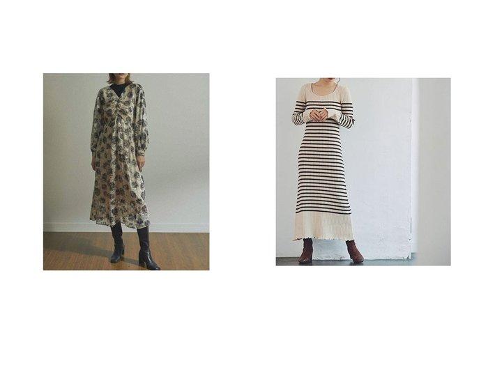 【Cherie Mona/シェリーモナ】のボーダーニットロングワンピース&【LADYMADE/レディメイド】のフラワードビーフロントギャザーワンピース ワンピース・ドレスのおすすめ!人気、レディースファッションの通販 おすすめファッション通販アイテム レディースファッション・服の通販 founy(ファニー)  ファッション Fashion レディース WOMEN ワンピース Dress ギャザー フレア フロント リュクス デコルテ パープル フィット フェミニン ボーダー |ID:crp329100000002463
