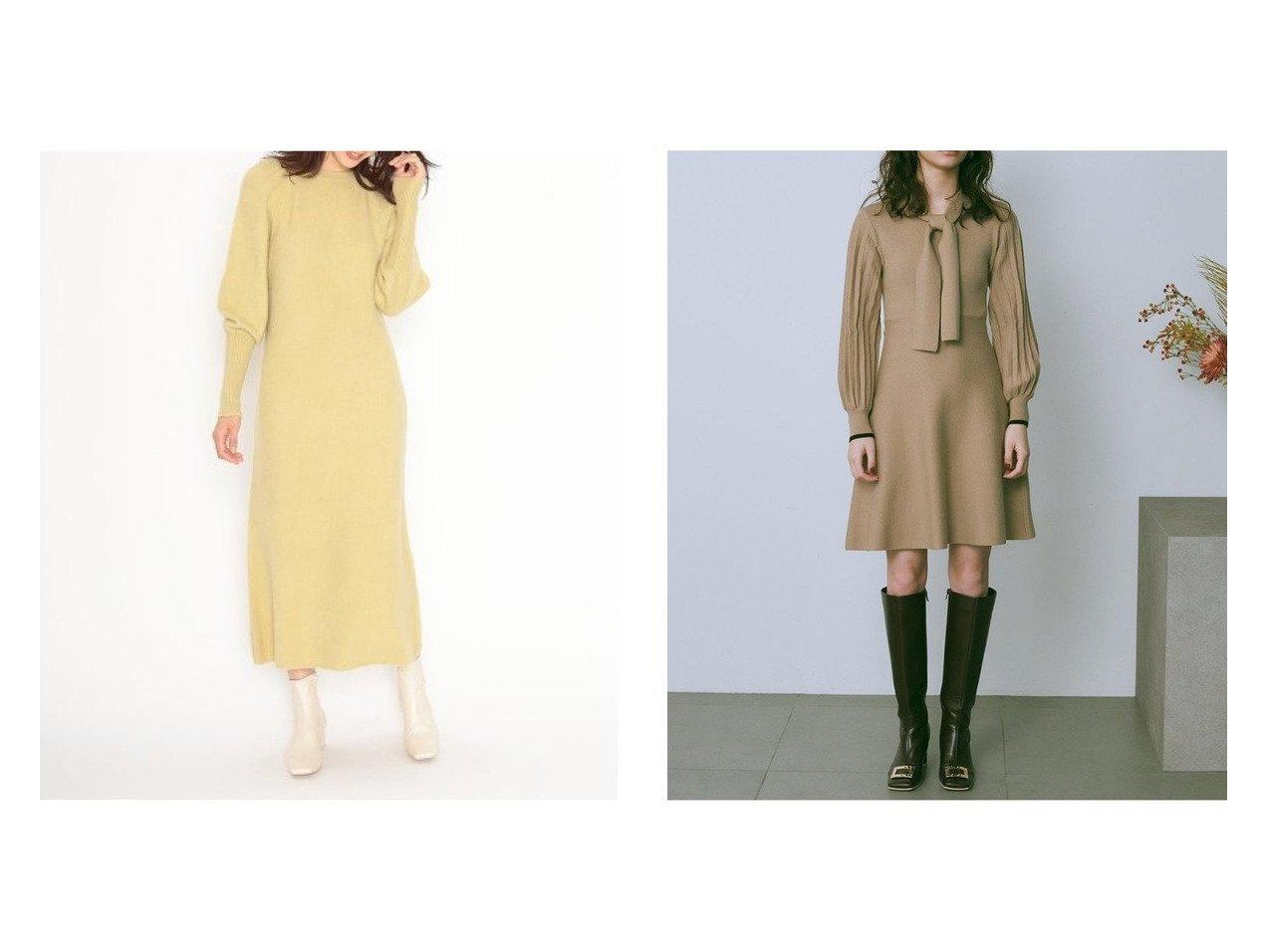 【Lily Brown/リリーブラウン】のボウタイニットワンピース&【SNIDEL/スナイデル】のファーライクスリーブニットワンピース ワンピース・ドレスのおすすめ!人気、レディースファッションの通販 おすすめで人気のファッション通販商品 インテリア・家具・キッズファッション・メンズファッション・レディースファッション・服の通販 founy(ファニー) https://founy.com/ ファッション Fashion レディース WOMEN ワンピース Dress ニットワンピース Knit Dresses マキシワンピース Maxi Dress アクリル イエロー エレガント オレンジ スリーブ トレンド フォックス マキシ ロング クラシカル プリーツ 人気 冬 Winter  ID:crp329100000002478