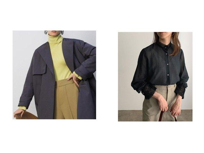 【ROPE' mademoiselle/ロペ マドモアゼル】のコットンシフォンレーストリムブラウス&【Mila Owen/ミラオーウェン】のカフスディテールタートルネックリブニット トップス・カットソーのおすすめ!人気、レディースファッションの通販 おすすめファッション通販アイテム レディースファッション・服の通販 founy(ファニー) ファッション Fashion レディース WOMEN トップス Tops Tshirt ニット Knit Tops タートルネック Turtleneck シャツ/ブラウス Shirts Blouses イエロー インナー カフス シンプル スマート セーター タートル タートルネック 定番 冬 Winter シフォン デニム フェミニン ミックス リラックス レース |ID:crp329100000002495
