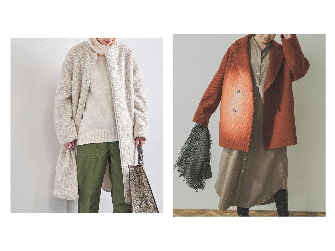 【UNITED ARROWS/ユナイテッドアローズ】のAC ボア ノーカラーコート†&【URBAN RESEARCH/アーバンリサーチ】のショート丈Pコート アウターのおすすめ!人気、レディースファッションの通販 おすすめで人気のファッション通販商品 インテリア・家具・キッズファッション・メンズファッション・レディースファッション・服の通販 founy(ファニー) https://founy.com/ ファッション Fashion レディース WOMEN アウター Coat Outerwear コート Coats ジャケット Jackets Pコート Pea Coats ジャケット パイピング フロント ポケット ロング ショート スタンダード チェック トレンド 冬 Winter |ID:crp329100000002898