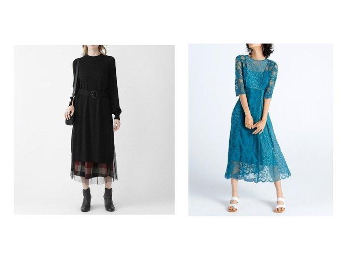 【FRAY I.D/フレイ アイディー】のパネルレースワンピース&【BLUE LABEL CRESTBRIDGE/ブルーレーベル・クレストブリッジ】のクレストブリッジチェックレイヤードスカートセットアップ ワンピース・ドレスのおすすめ!人気、レディースファッションの通販  おすすめファッション通販アイテム インテリア・キッズ・メンズ・レディースファッション・服の通販 founy(ファニー) https://founy.com/ ファッション Fashion レディース WOMEN ワンピース Dress セットアップ Setup スカート Skirt スリット セットアップ チェック チュール テクスチャー デニム ドレープ ロング 人気 インナー スマート レース |ID:crp329100000002925