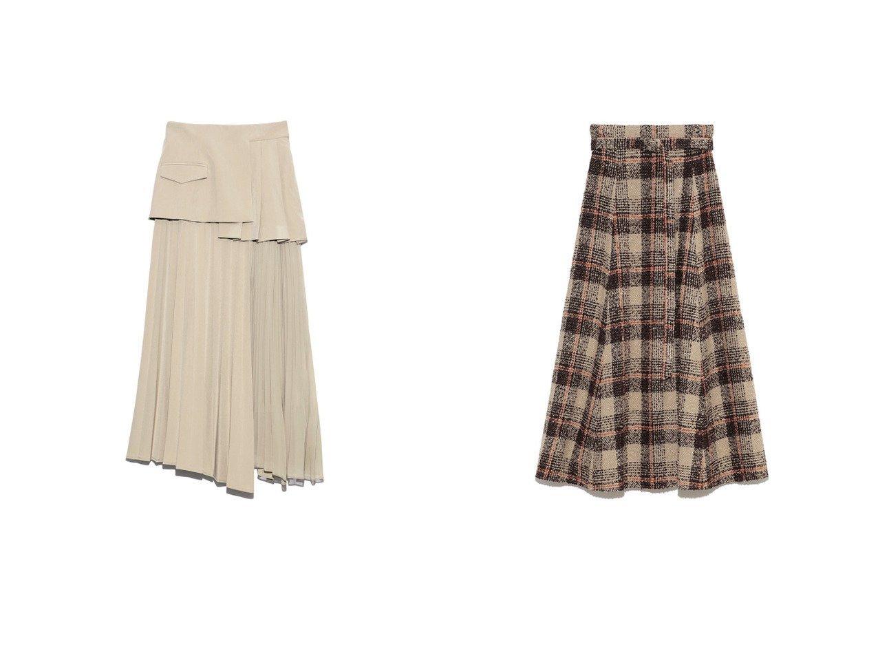 【SNIDEL/スナイデル】のスイッチングプリーツスカート&【Mila Owen/ミラオーウェン】のループチェックマキシフレアSK スカートのおすすめ!人気、レディースファッションの通販 おすすめで人気のファッション通販商品 インテリア・家具・キッズファッション・メンズファッション・レディースファッション・服の通販 founy(ファニー) https://founy.com/ ファッション Fashion レディース WOMEN スカート Skirt プリーツスカート Pleated Skirts アシンメトリー エアリー 秋 シフォン スマート バランス フレア プリーツ ミックス チェック ロング  ID:crp329100000003035