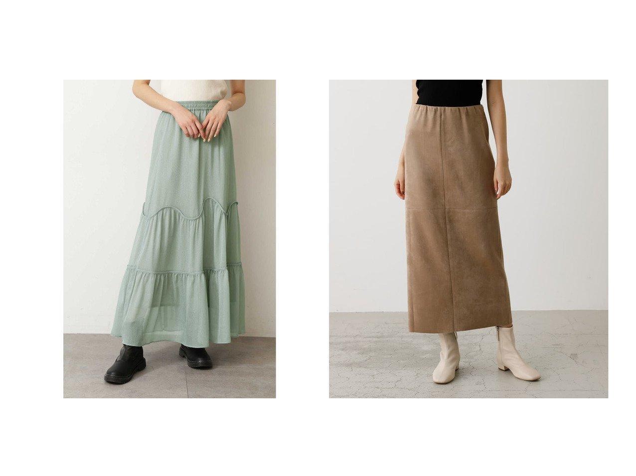 【AZUL by moussy/アズール バイ マウジー】のFAKE SUEDE SLIT SKIRT&【FREE'S MART/フリーズマート】のボイルウェーブティアードスカート スカートのおすすめ!人気、レディースファッションの通販 おすすめで人気のファッション通販商品 インテリア・家具・キッズファッション・メンズファッション・レディースファッション・服の通販 founy(ファニー) https://founy.com/ ファッション Fashion レディース WOMEN スカート Skirt ティアードスカート Tiered Skirts シアー マキシ 冬 Winter なめらか スエード ストレッチ バランス ペンシル ミドル  ID:crp329100000003175