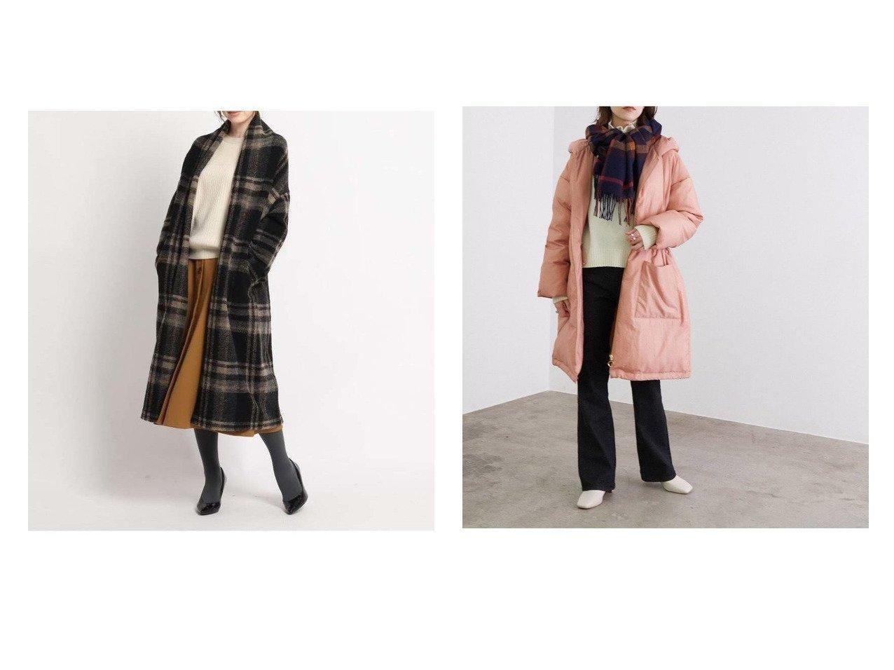 【ROPE' mademoiselle/ロペ マドモアゼル】の【Green Down】フーテッドコート&【SunaUna/スーナウーナ】のエアリーチェックノーカラーコート アウターのおすすめ!人気、レディースファッションの通販  おすすめで人気のファッション通販商品 インテリア・家具・キッズファッション・メンズファッション・レディースファッション・服の通販 founy(ファニー) https://founy.com/ ファッション Fashion レディース WOMEN アウター Coat Outerwear コート Coats ジャケット Jackets ノーカラージャケット No Collar Leather Jackets イタリア ジャケット チェック フロント ロング 羽織 シンプル ダウン ドローコード フェミニン |ID:crp329100000003313