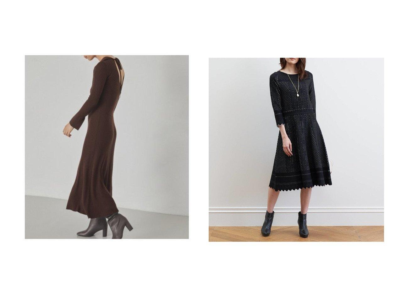 【FRAY I.D/フレイ アイディー】のコルセットリブニットワンピ&【ANAYI/アナイ】のバイカラーレースジャガードフレアワンピース ワンピース・ドレスのおすすめ!人気、レディースファッションの通販  おすすめで人気のファッション通販商品 インテリア・家具・キッズファッション・メンズファッション・レディースファッション・服の通販 founy(ファニー) https://founy.com/ ファッション Fashion レディース WOMEN ワンピース Dress ニットワンピース Knit Dresses コルセット コンシャス スマート ドレス フレア リボン イヤリング シェイプ ジャケット ストレッチ フィット ボトム  ID:crp329100000003352